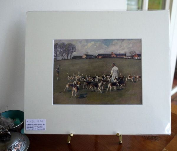 Hounds in the Kennel Field - H E6 -  1930's print by Lionel Edwards